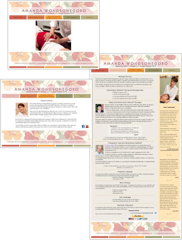 Website prototype for Amanda Wongsonegoro